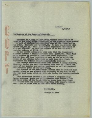 Primary view of object titled '[Carbon Copy of Letter from George J. Beto to Board of Control, April 30, 1947]'.