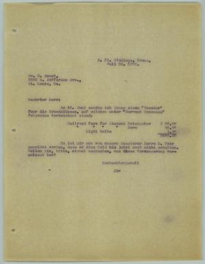 Primary view of object titled '[Letter from R. Osthoff to E. Seuel, July 24, 1929]'.