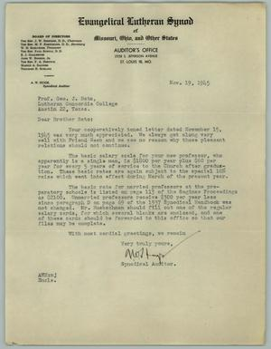 Primary view of object titled '[Letter from A. W. Huge to George J. Beto, November 19, 1945]'.