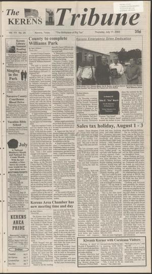 Primary view of object titled 'The Kerens Tribune (Kerens, Tex.), Vol. 111, No. 29, Ed. 1 Thursday, July 17, 2003'.