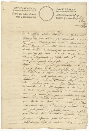 Primary view of object titled '[Court document from County of Bexar, October 25, 1848]'.