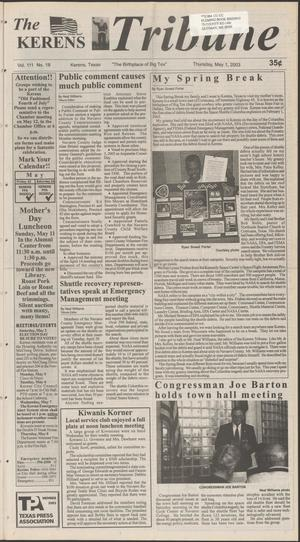 Primary view of object titled 'The Kerens Tribune (Kerens, Tex.), Vol. 111, No. 18, Ed. 1 Thursday, May 1, 2003'.