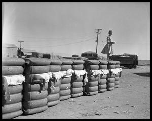 Primary view of object titled 'Woman Standing on a Stack of Cotton'.