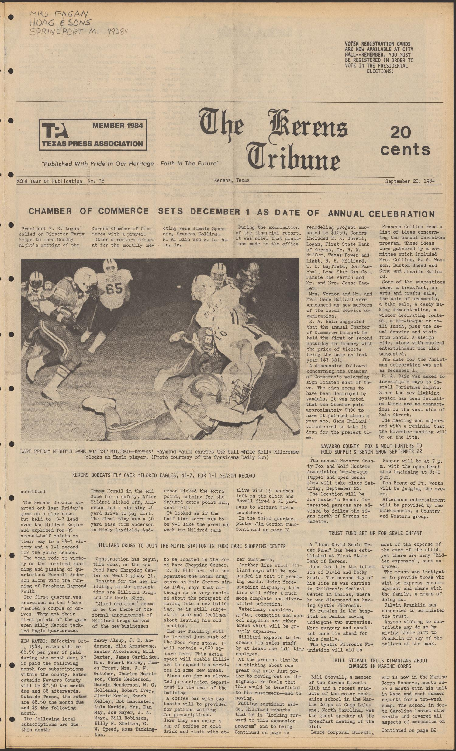 The Kerens Tribune (Kerens, Tex.), Vol. 92, No. 38, Ed. 1 Thursday, September 20, 1984                                                                                                      [Sequence #]: 1 of 8