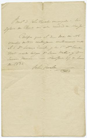 Primary view of object titled '[Marriage certificate of Lorenzo de Zavala and Emily West, June 27, 1832]'.