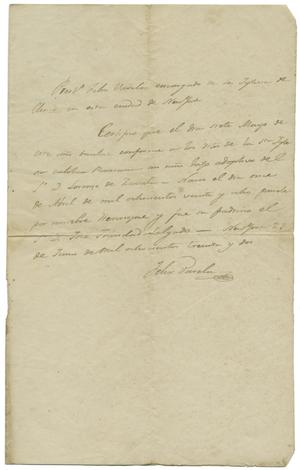 Primary view of object titled '[Baptismal confirmation for Henry, Zavala's adopted son]'.
