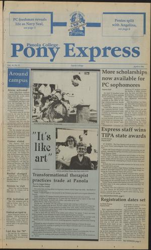 Primary view of object titled 'Panola College Pony Express (Carthage, Tex.), Vol. 41, No. 11, Ed. 1 Monday, April 8, 1991'.