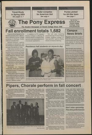 Primary view of object titled 'The Pony Express (Carthage, Tex.), Vol. 54, No. 1, Ed. 1 Tuesday, October 28, 2003'.
