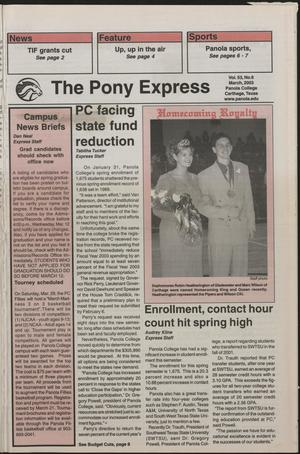 Primary view of object titled 'The Pony Express (Carthage, Tex.), Vol. 53, No. 6, Ed. 1 Saturday, March 1, 2003'.