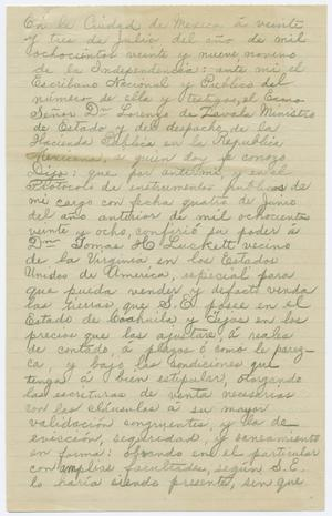 Primary view of object titled '[Statement on the dealings of Zavala's colony and its inhabitants, May 1910]'.