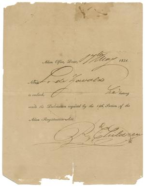 Primary view of object titled '[Permission from Alien Office allowing Zavala to embark, May 17, 1831]'.