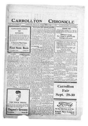 Primary view of object titled 'Carrollton Chronicle (Carrollton, Tex.), Vol. 18, No. 40, Ed. 1 Friday, September 1, 1922'.