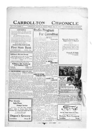 Primary view of object titled 'Carrollton Chronicle (Carrollton, Tex.), Vol. 18, No. 49, Ed. 1 Friday, November 3, 1922'.