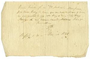 Primary view of object titled '[Personal letter from unknown person, September 6, 1849]'.