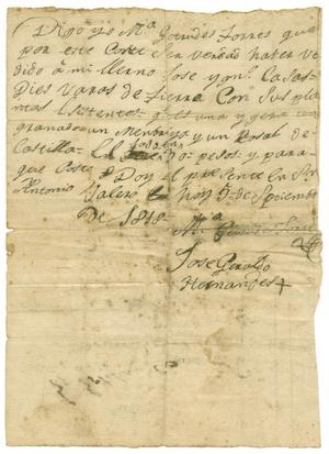 Primary view of object titled '[Letter from Jose Geraldo Hernandes to Zavala, September 5, 1818]'.