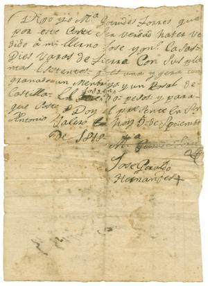 Primary view of [Letter from Jose Geraldo Hernandes to Zavala, September 5, 1818]