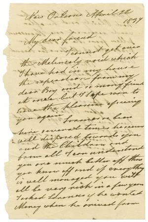 Primary view of object titled '[Letter from Charlotte Mexia to Emily de Zavala, April 22, 1837]'.