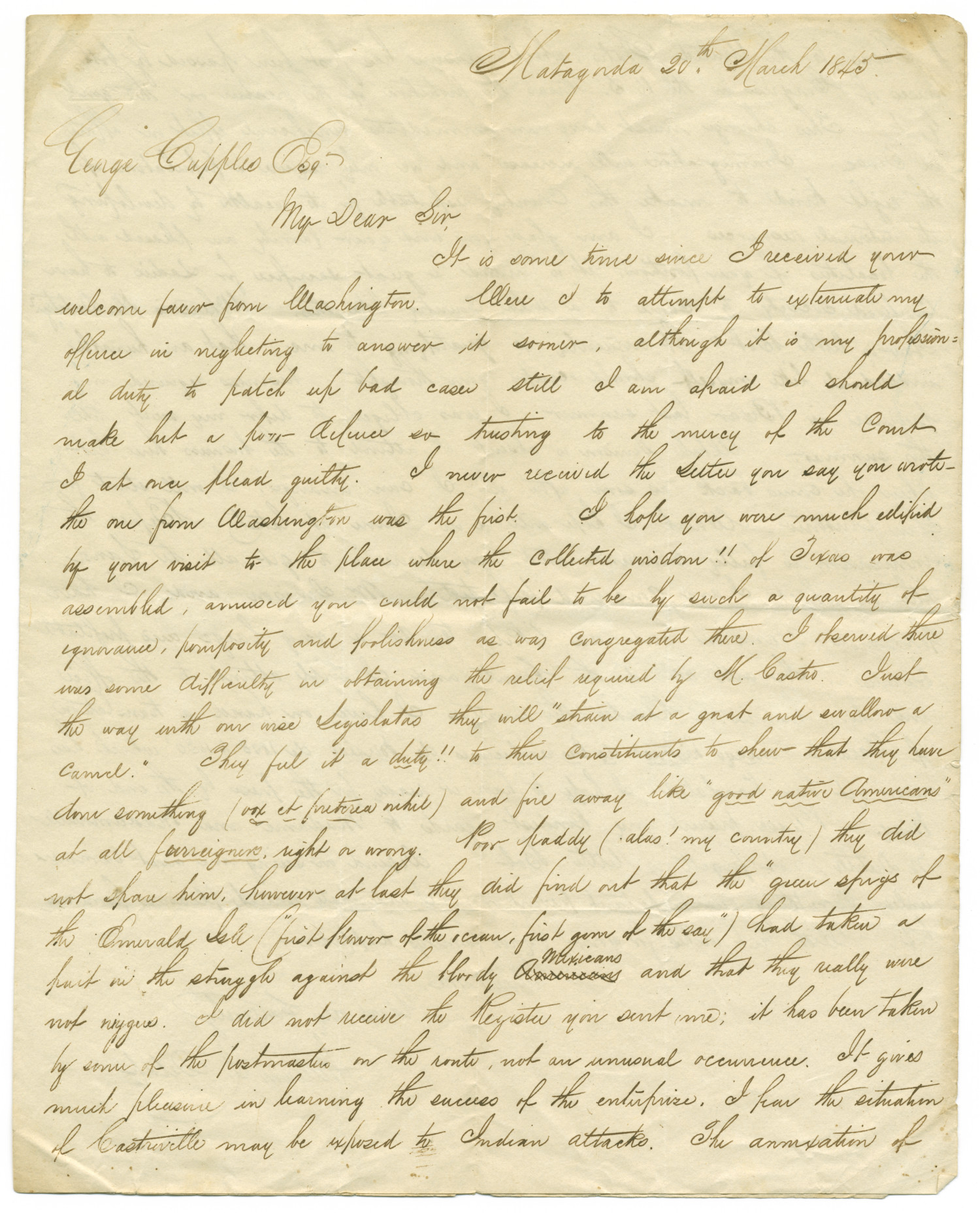Letter from William L. Delap to George Cupples, March 20, 1845                                                                                                      [Sequence #]: 1 of 6