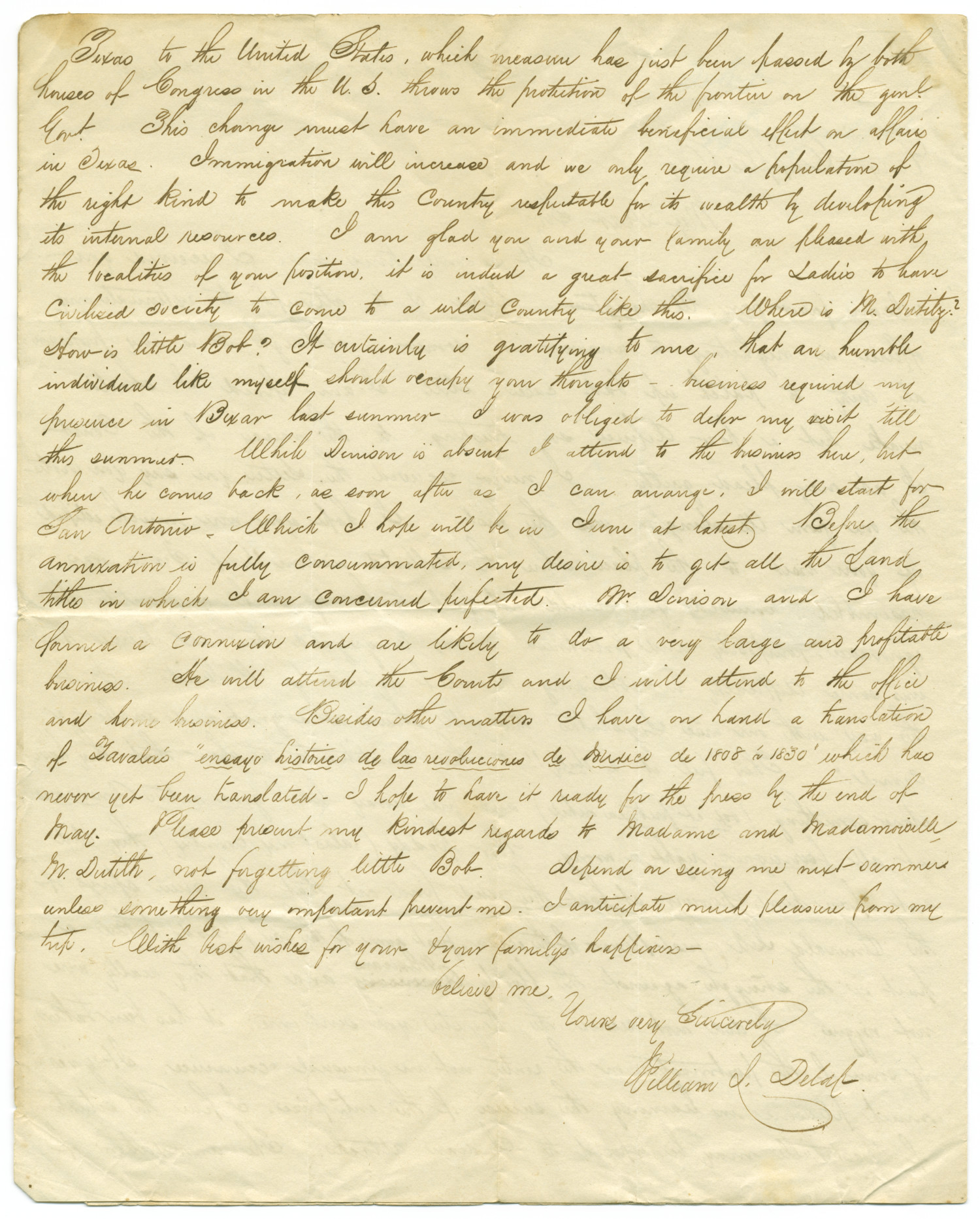 Letter from William L. Delap to George Cupples, March 20, 1845                                                                                                      [Sequence #]: 2 of 6