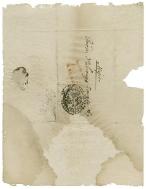 Primary view of object titled '[Envelope of letter from Govenor of Veracruz to Zavala]'.