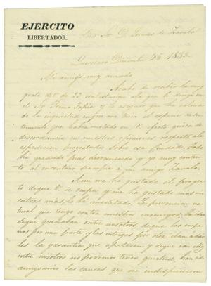 Primary view of object titled '[Letter from Mexia to Zavala, December 18, 1832]'.