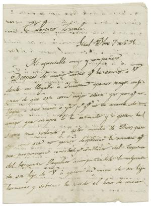 Primary view of object titled '[Letter from Isidro Rafael Gondra to Lorenzo de Zavala, December 7, 1831]'.