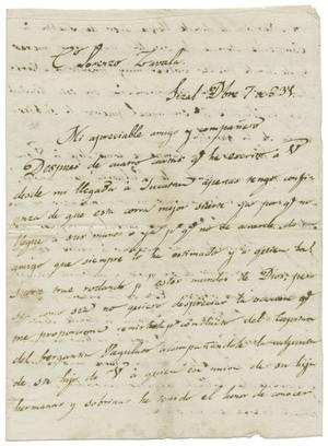 Primary view of [Letter from Isidro Rafael Gondra to Lorenzo de Zavala, December 7, 1831]