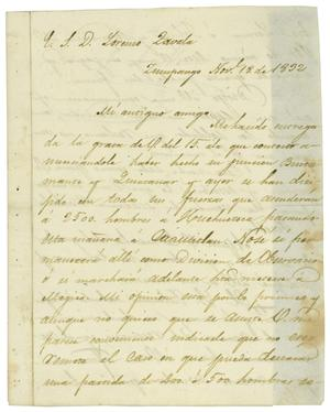 Primary view of object titled '[Letter from Mexia to Zavala, November 18, 1832]'.