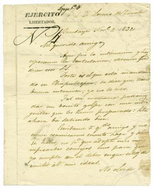 Primary view of object titled '[Letter from Jose Antonio Mexia to Lorenzo de Zavala, November 2, 1832]'.