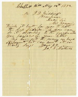 Primary view of object titled '[Letter from J. F. Matthews to J. D. Giddings - May 14, 1872]'.