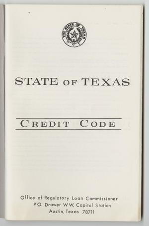 State of Texas Credit Code - The Portal to Texas History