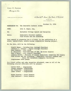 Primary view of object titled '[Letter from Eric Roper to Barbara Jordan, October 13, 1976'.