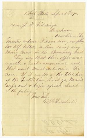 Primary view of object titled '[Letter from B. D. Dashiell to J. D. Giddings - September 26, 1872]'.