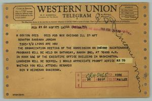 Primary view of [Telegram from Ben W. Heineman to Barbara C. Jordan, February 21, 1968]