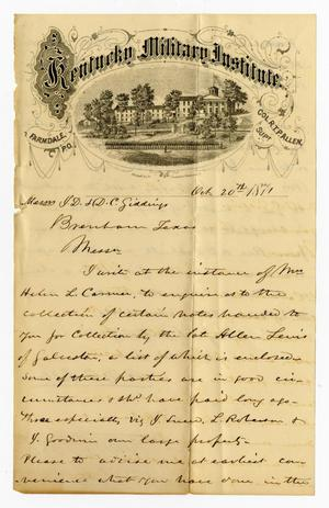 Primary view of object titled '[Letter from R. T. P. Allen to J. D. and D. C. Giddings - October 20, 1871]'.