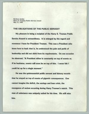 The Obligations Of The Public Servant, Texas Senate Papers