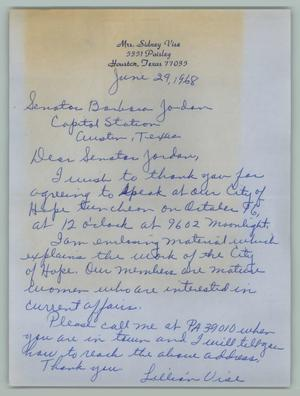 Primary view of object titled '[Letter from Mrs. Sidney Vise to Barbara Jordan, June 29, 1968]'.