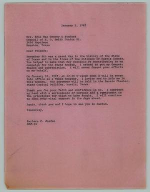 Primary view of object titled '[Letter from Barbara C. Jordan to Edna Mae Grovey, January 5, 1967]'.