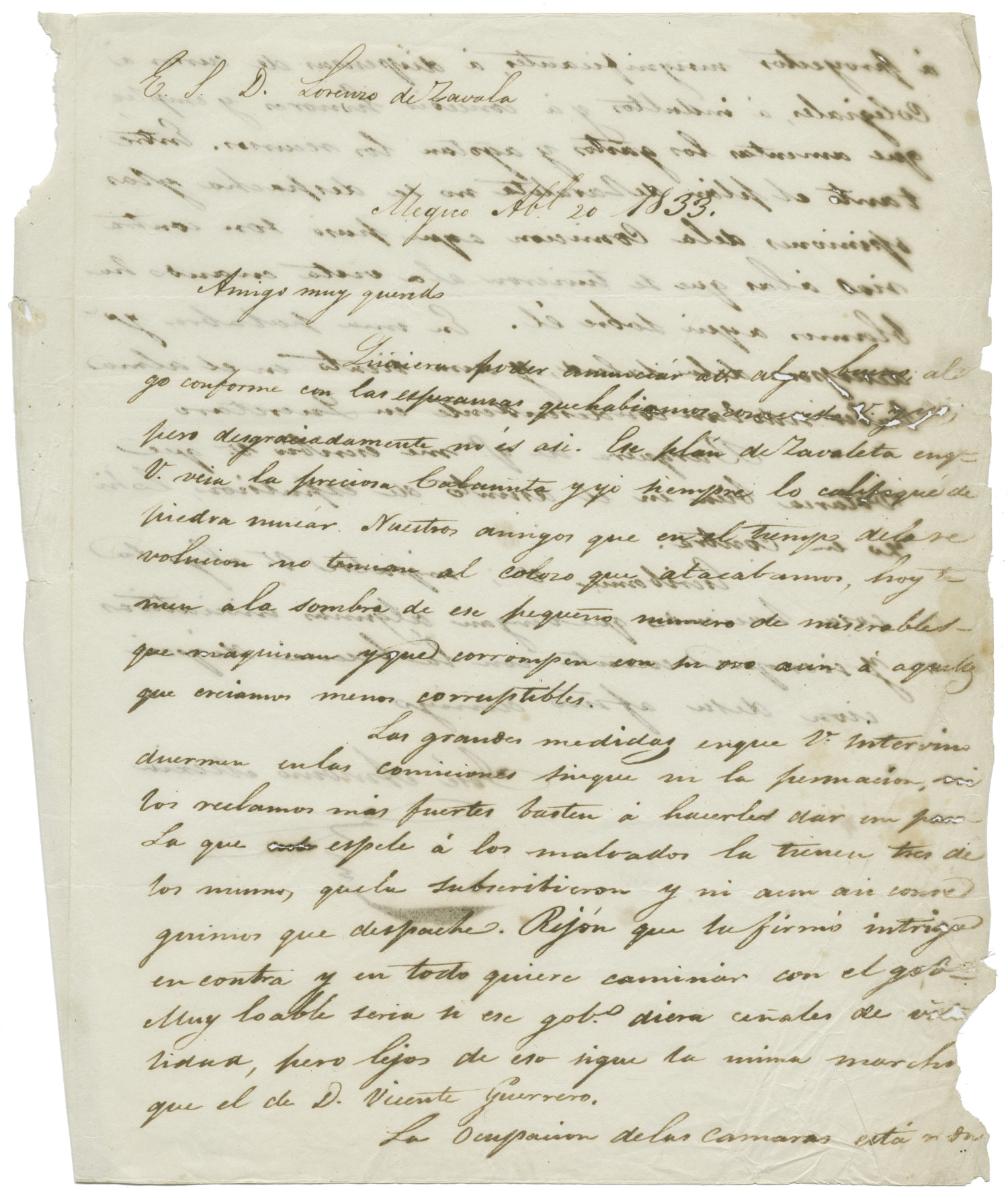 [Letter from Mexia to Zavala, April 20, 1833]                                                                                                      [Sequence #]: 1 of 2
