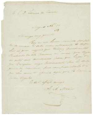 Primary view of object titled '[Letter from Mexia to Zavala, April 11, 1833]'.