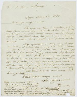 Primary view of object titled '[Letter from Mexia to Zavala, March 30, 1833]'.