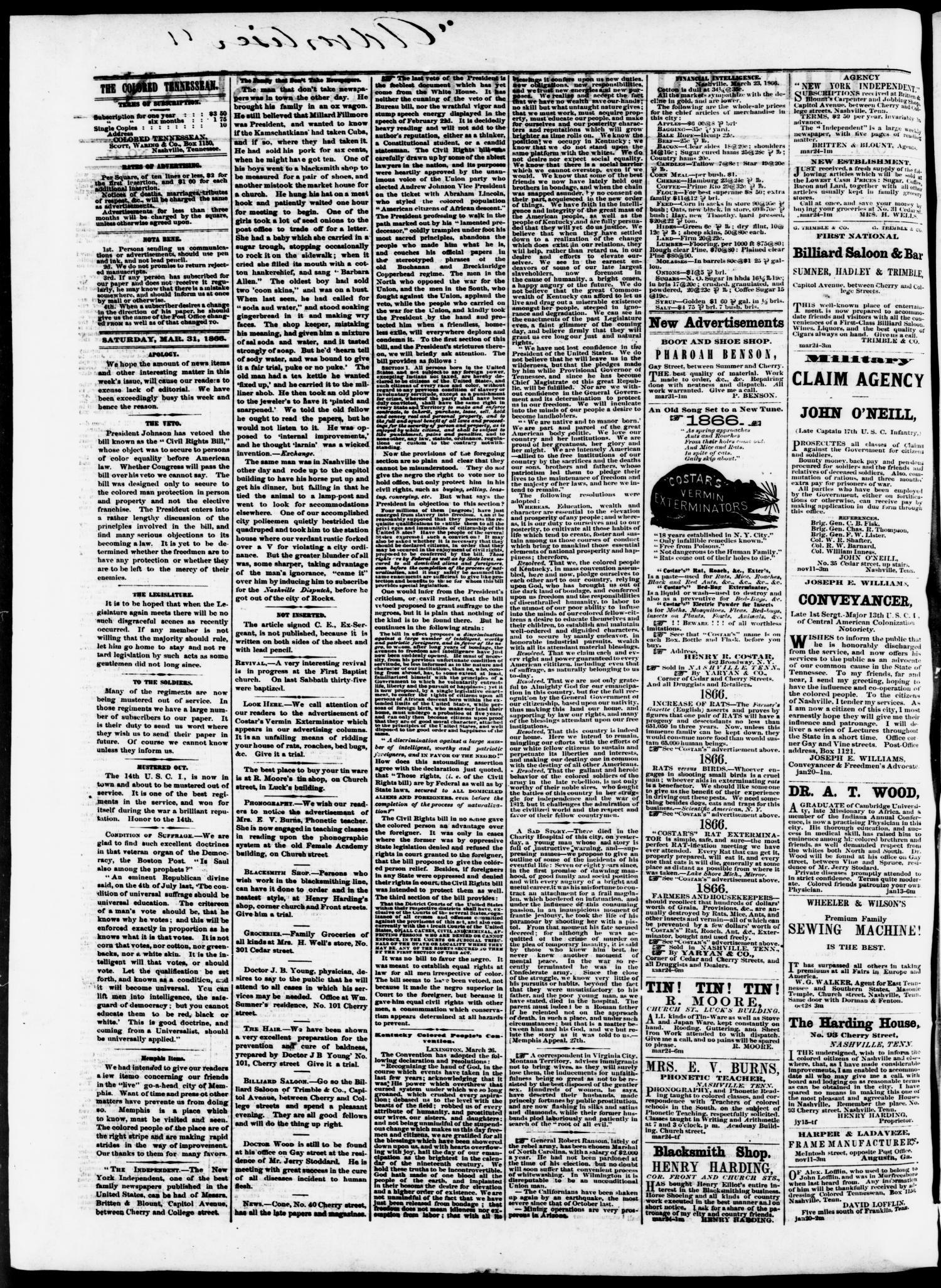 The Colored Tennessean  (Nashville, Tenn ), Vol  1, No  45