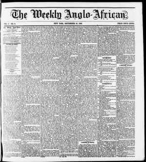 Primary view of object titled 'The Weekly Anglo-African. (New York [N.Y.]), Vol. 1, No. 8, Ed. 1 Saturday, September 10, 1859'.