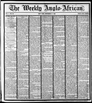 Primary view of object titled 'The Weekly Anglo-African. (New York [N.Y.]), Vol. 1, No. 22, Ed. 1 Saturday, December 17, 1859'.