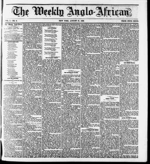 Primary view of object titled 'The Weekly Anglo-African. (New York [N.Y.]), Vol. 1, No. 6, Ed. 1 Saturday, August 27, 1859'.