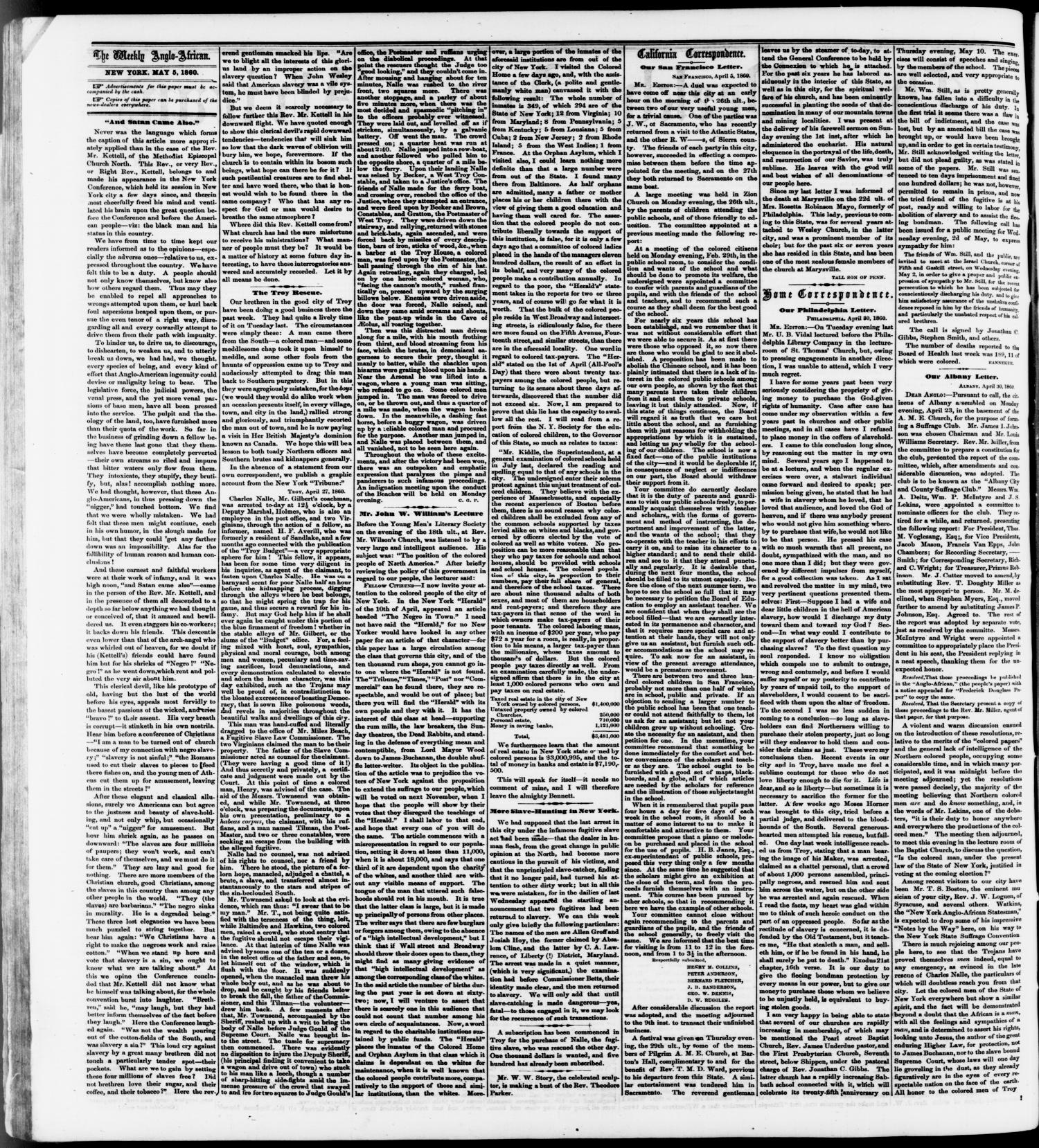 The Weekly Anglo-African. (New York [N.Y.]), Vol. 1, No. 42, Ed. 1 Saturday, May 5, 1860                                                                                                      [Sequence #]: 2 of 4
