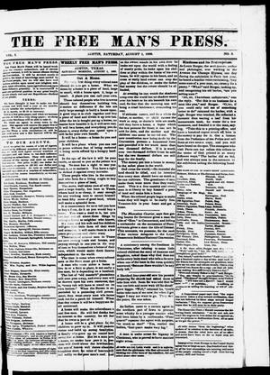 Primary view of object titled 'The Free Man's Press. (Austin, Tex.), Vol. 1, No. 3, Ed. 1 Saturday, August 1, 1868'.