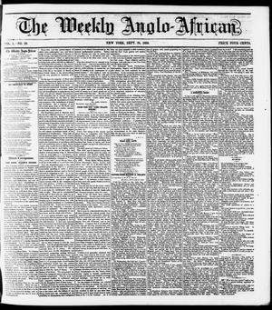 Primary view of object titled 'The Weekly Anglo-African. (New York [N.Y.]), Vol. 1, No. 10, Ed. 1 Saturday, September 24, 1859'.