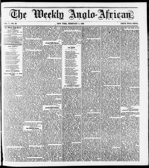 Primary view of The Weekly Anglo-African. (New York [N.Y.]), Vol. 1, No. 29, Ed. 1 Saturday, February 4, 1860