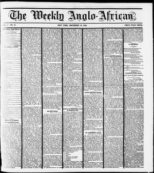 Primary view of object titled 'The Weekly Anglo-African. (New York [N.Y.]), Vol. 1, No. 21, Ed. 1 Saturday, December 10, 1859'.